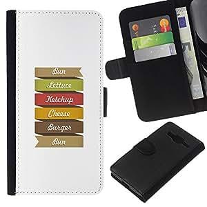 KingStore / Leather Etui en cuir / Samsung Galaxy Core Prime / Hamburguesa del arco iris Arte colorido Cita sesión