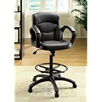 Darzi Drafting Style Black Leatherette Adjustable Office Chair
