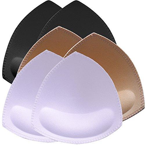 Bra Pad Inserts 4 Pairs,Sermicle Bra Pads Sewn Padded for Sports Bra A//B or C//D,D//E Cup Beige or Black White Optional