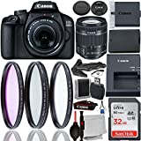 Canon EOS 4000D DSLR Camera with 18-55mm f/4-5.6 IS STM Lens & Accessory Bundle - Includes: SanDisk Ultra 32GB SDHC Memory Card + Spare Long-Life Battery (LP-E10) + 3PC Multi-Coated Filter Set + MORE