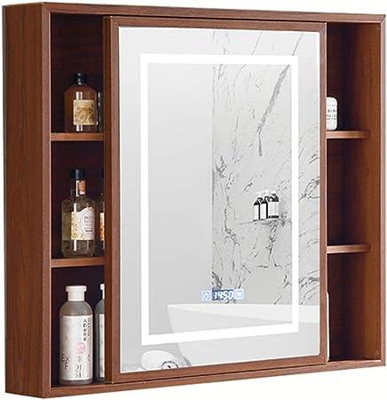 Mueble de Espejo para baño Inteligente Mueble de Espejo LED Mueble de Espejo de Pared Armario antivaho para baño, diseño de Puerta corredera (Color : Wood, Size : 80 * 13 * 70cm): Amazon.es: Hogar