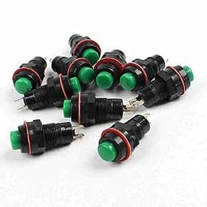 TTcity 125 V, 10 unidades, 3 A, 250 V CA, 1,5 A. On/Off SPST no enclavamiento Push Button Switch, color verde