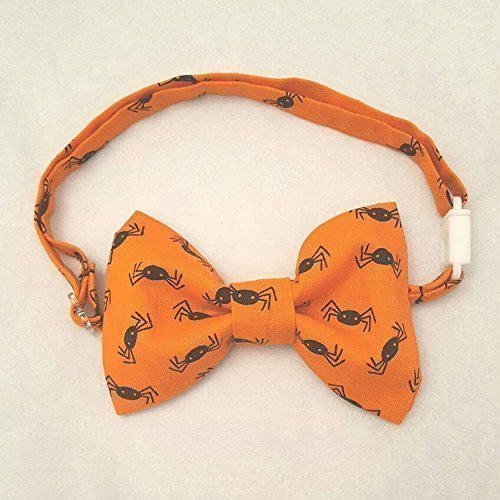 Halloween Bow Tie for Boys, Halloween Bowtie, Orange with Black Spiders Bow Tie, Sizing up to 9 years old, Bow Tie Halloween