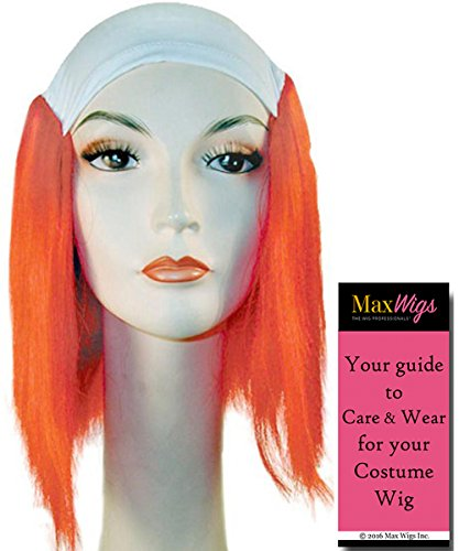 Color Red - Lacey Wigs Adult Deluxe Synthetic Cloth Stretch Front Long Tramp Bundle with MaxWigs Costume Wig Care Guide (Deluxe Clown Wig)