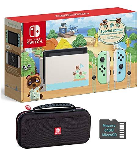 Nintendo Switch Bundle w/Case & SD Card: Nintendo Switch Animal Crossing New Horizons Edition 32GB Console, Mazery SD Card & Travel Case