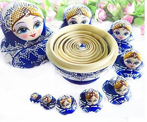 10 pcs. Beautiful Wooden Russian Nesting Doll Blue