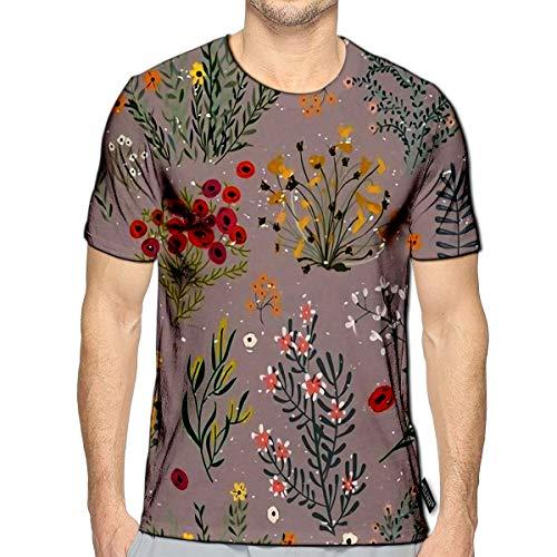 3D Printed T-Shirts Doodle Flowers Short Sleeve Tops Teesf -