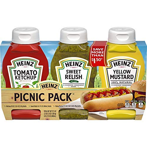- Heinz Tomato Ketchup, Relish, and Mustard Picnic Pack, 3 Count