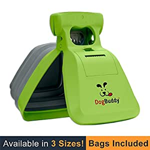 DogBuddy New Pooper Scooper - Small, Medium or Large Dog Pooper Scooper - Portable Poop Scoop - Dog Poop Scooper with Waste Bag Dispenser - Large - Kiwi