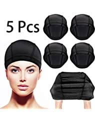 Dome Caps Stretchable Wigs Cap Spandex Dome Style Wig Caps For Men Women (5 Pack, Black Mesh Wig Caps)
