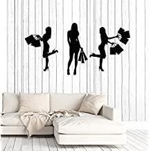 Art of Decals Vinyl Wall Decal Shopping Women Girl Silhouette Fashion Shop Stickers Large Decor 856