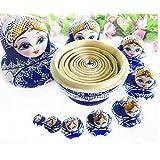 10 pcs. Beautiful Wooden Russian Nesting Doll Blue