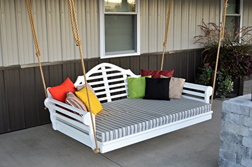 6' Porch Swing Bed - Classic Lutyens Swinging Daybed - Amish Crafted in 8 Designer Color Choices - Hardware Included (White) (Amish Daybed)