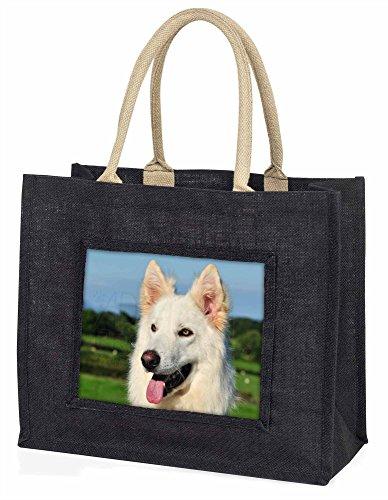 Advanta weiß Deutscher Schäferhund Große Einkaufstasche/Weihnachtsgeschenk, Jute, schwarz, 42x 34,5x 2cm