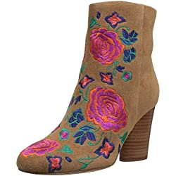 The Fix Women's Nash Floral Embroidery Oval Heel Ankle Bootie, Havana Tan, 6.5 B US