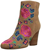 The Fix Women's Nash Floral Embroidery Oval Heel Ankle Bootie, Havana Tan, 7 B US