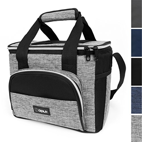 OPUX Thermal Insulated Large Lunch Bag for Travel | Soft Collapsible Mini Cooler Bag for Family Picnic, Beach, Camping | Leakproof Lunch Box for Work, Office | Fits 16 Cans ()