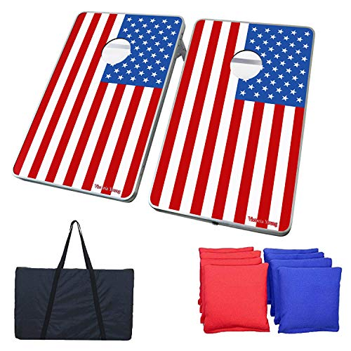 Victoria Young American Flag Supreme Quality Aluminum Frame Cornhole Bean Bag Toss Game Set Portable with 8 Bean Bags (2.95ft x 1.95ft) (Best Quality Bean Bags)