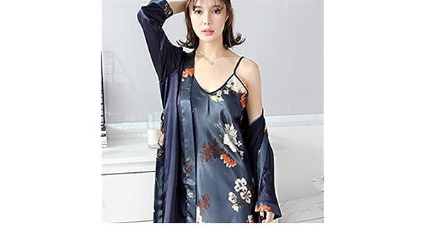 Andensoner Ladies Flowers Embellished Collar Nightdress Batas con Vestido de Tirantes Perfecto: Amazon.es: Hogar