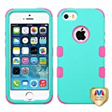 Cell Accessories For Less (TM) Apple iPhone 5/5S/SE Teal Green Pink Hybrid Case Cover Bundle (Stylus & Micro Cleaning Cloth) - By TheTargetBuys