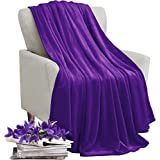 KAWAHOME Fleece Blanket Lightweight Fuzzy Microfiber Spring Blanket for Bed Couch Sofa Queen Size 90 X 90 Inches Purple