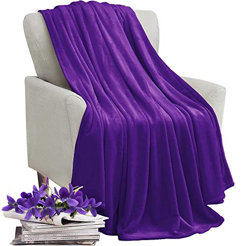 KAWAHOME Flannel Fleece Blanket Lightweight Warm Fuzzy Soft Microfiber Blankets All Season for Bed Couch Sofa King Size 108 X 90 Inches Purple (Soft Blanket Purple)