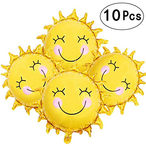28 Inch Sunshine Sun Smile Face Shaped Foil Mylar Balloons Helium Balloon Happy Birthday Sunny Summer Day Theme Party Supplies Wedding Decorations ()
