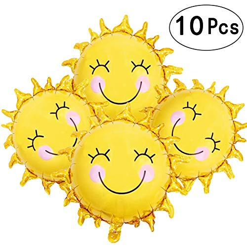 28 Inch Sunshine Sun Smile Face Shaped Foil Mylar Balloons Helium Balloon Happy Birthday Sunny Summer Day Theme Party Supplies Wedding -