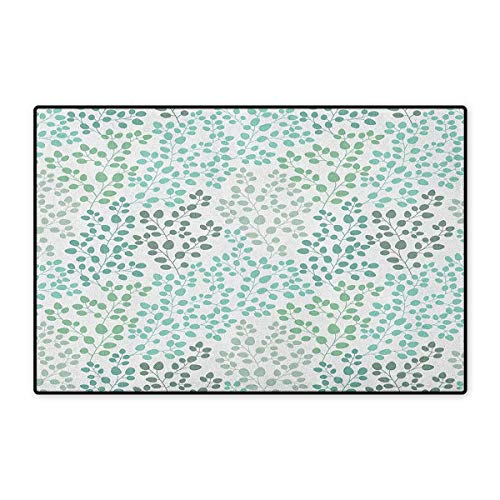 Leaf,Door Mats for Floors,Pattern with Leaf Branches Silhouette Nature Theme Foliage Forest,Mat for Tub Doorroom,Sage Green Turquoise White,Size,24