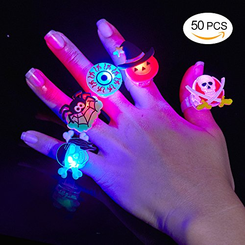 BUDI 50Pc Halloween Party Favors LED Finger Lights For Kids and Adults LED Rings with Halloween Gift Package Treats Bags Light Up Toys Rings Party Decorations Assorted Style Pack of 50