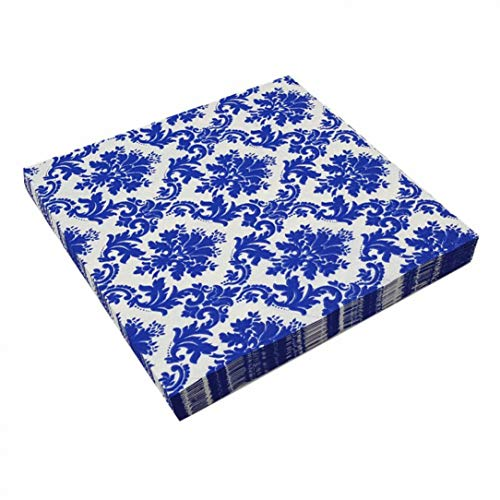 RXIN Blue and White Porcelain Pattern- Cocktail Napkins- Disposable Paper Napkins- for Birthday- (60 Pieces,13