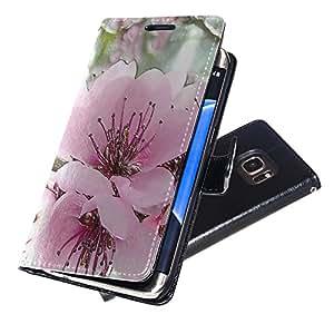 Flores 10015, Flor Rosa, Negro Funda de Piel Cuero Case Magnética con Función de Soporte Carcasa con Diseño Texturado para Samsung Galaxy S7 Edge