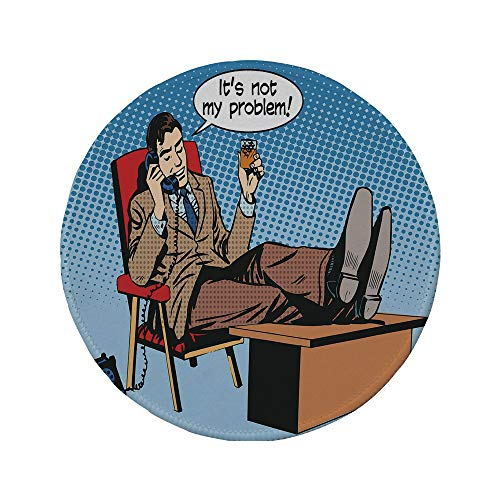 (Non-Slip Rubber Round Mouse Pad,Retro,Pop Art Style Business Man Talking on Phone Drinking Relax Boss Manager Negotiation,Multicolor,11.8