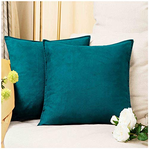 Zealax 2-Pack Cushion Covers Solid Color Comfortable Faux Suede Decorative Throw Pillow Covers Pillowcases for Sofa Couch Living Room Decor, 20 x 20 inches, Deep Teal (Green Decor Teal)
