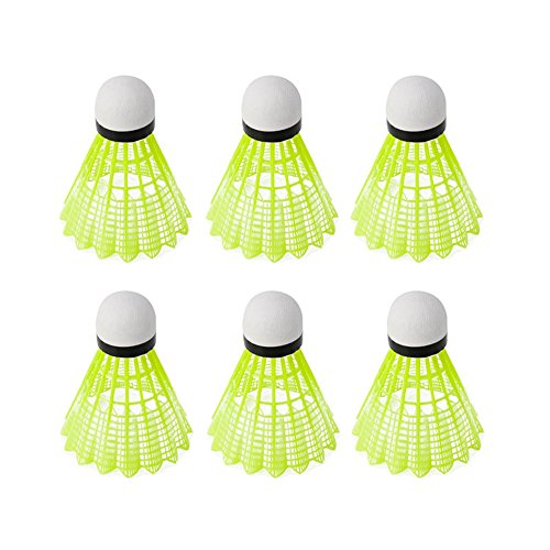 Riashop 6pcs Train Gym Fitness Yellow Nylon Shuttlecocks Badminton Ball Sport Durable Review