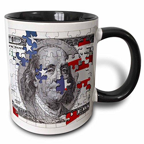 3dRose Hundred dollar bill usa american money bank note puzzle flag abstract puzzled franklin benjamin - Two Tone Black Mug, 11oz (mug_155046_4), 11 oz, Black/White (100 Dollar Bill Puzzle)