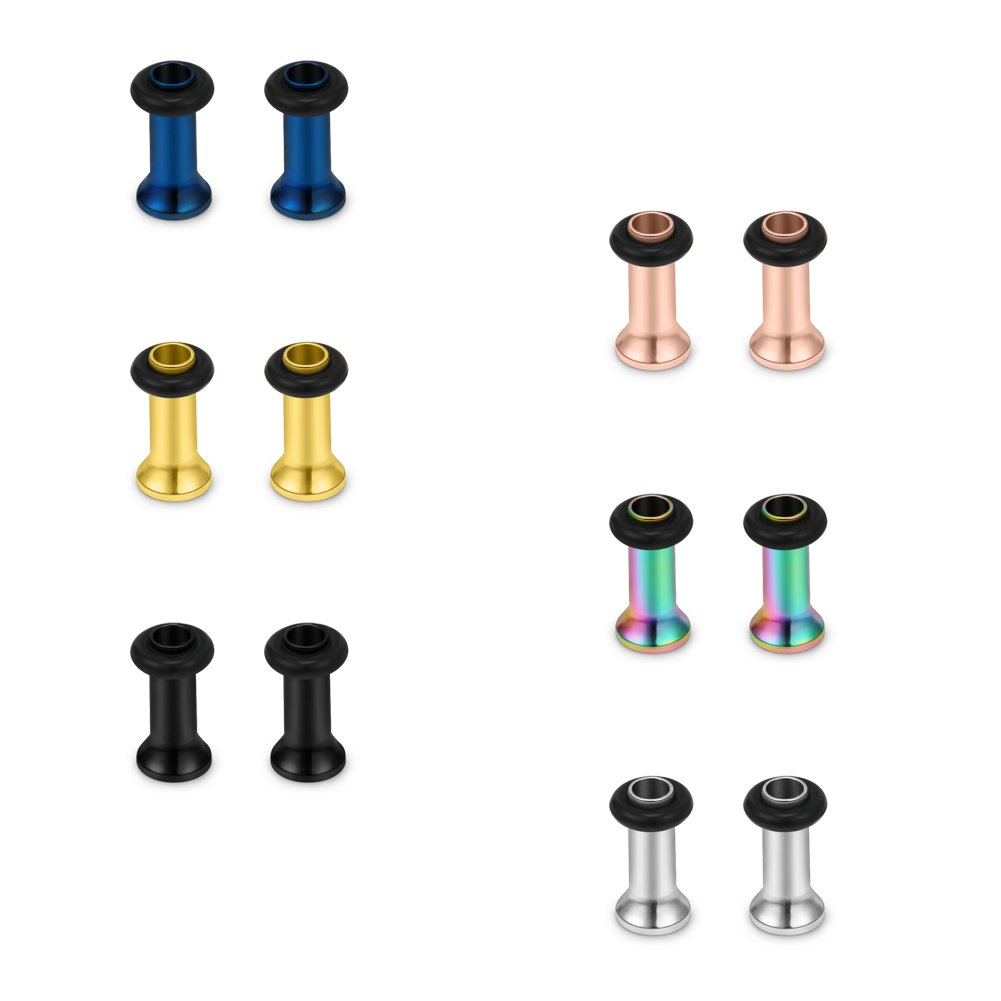 SCERRING 12PCS Mix Color Ear Tunnels Stretching Kit Stainless Steel Gauge Plugs Set Single Flared Expanders Same Sizes 12G-00G EKS0073