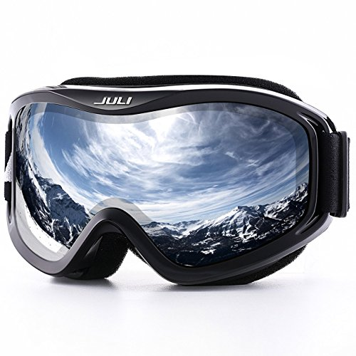 Womens Ski Snowboard Goggles - JULI OTG Ski Goggles-Over Glasses Ski / Snowboard Goggles for Men, Women & Youth - 100% UV Protection Anti-fog Dual Lens(Black Frame+15%VLT Colorful Len)