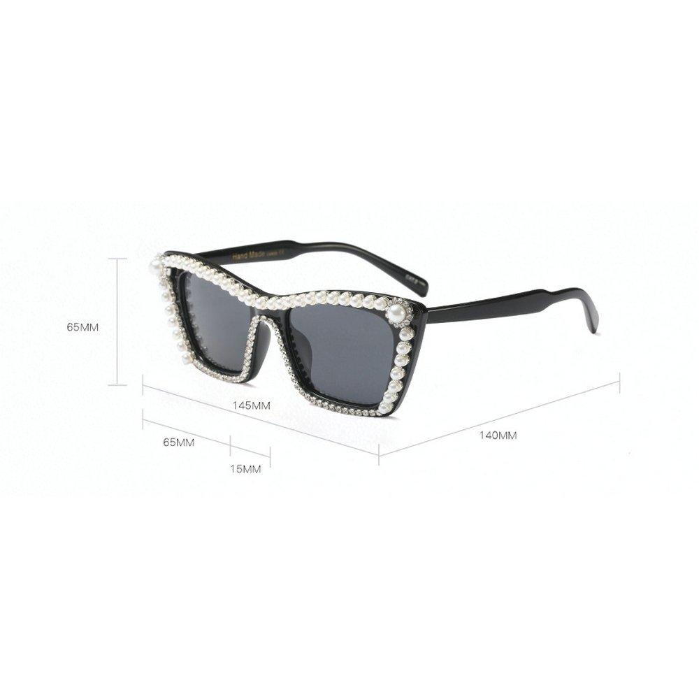 57ebc531c21a Amazon.com  MINCL Luxury Diamond Fashion Vintage Cateye Party Sunglasses  Womens Clear Lens UV400 (black)  Clothing