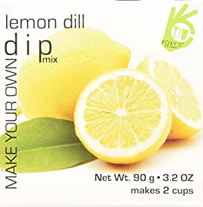 Foxy Gourmet Lemon/Dill Dip Mix, 3.17-Ounce Boxes (Pack of 4)