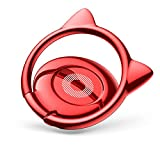 Baseus Cat Phone Ring Holder Stand, Ring Grip Light 360 Degree Rotation Universal for iPhone Andriod Smartphones - Cat Ears Red