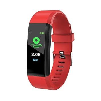 DGRTUY - Reloj de Fitness para Hombre y Mujer, Pulsera Inteligente, pulsómetro, tensiómetro, Bluetooth, con Pulsera Deportiva, Rojo: Amazon.es: Deportes y ...