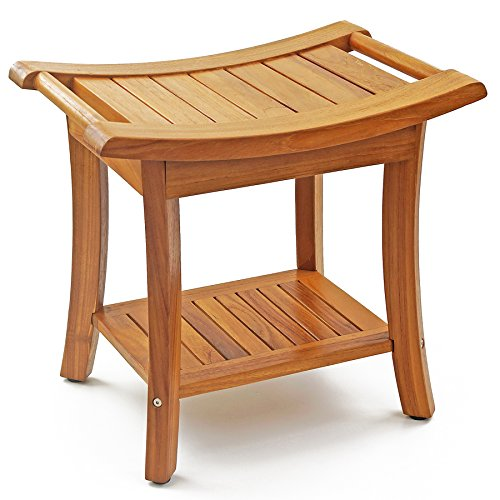 WELLAND 19.5'' Deluxe Teak Wood Shower Bench w/ Storage Shelf Handles / Bath Stool by WELLAND