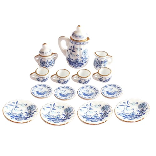 dreamflyingtech Porcelain Tea Cup Set 1/12 Dolls House Miniatures Dining Ware Blue Pot Dish Cup Plate Flower