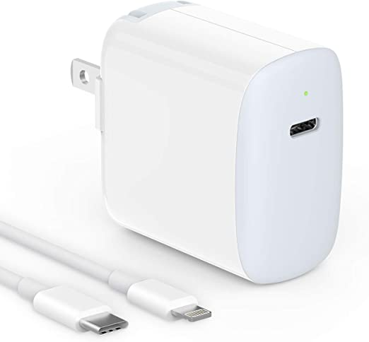 Amazon.com: iPhone Fast Charger Apple Certified, 18W USB C Charger for iPhone 11, 11 Pro Max, SE, XR, Xs, X, 8, iPad Pro 12.9 Gen 1/2, iPad 8/7, iPad Air 3, iPad Mini 5, LED, 6.6ft USB C to Lightning Cable: Home Audio & Theater
