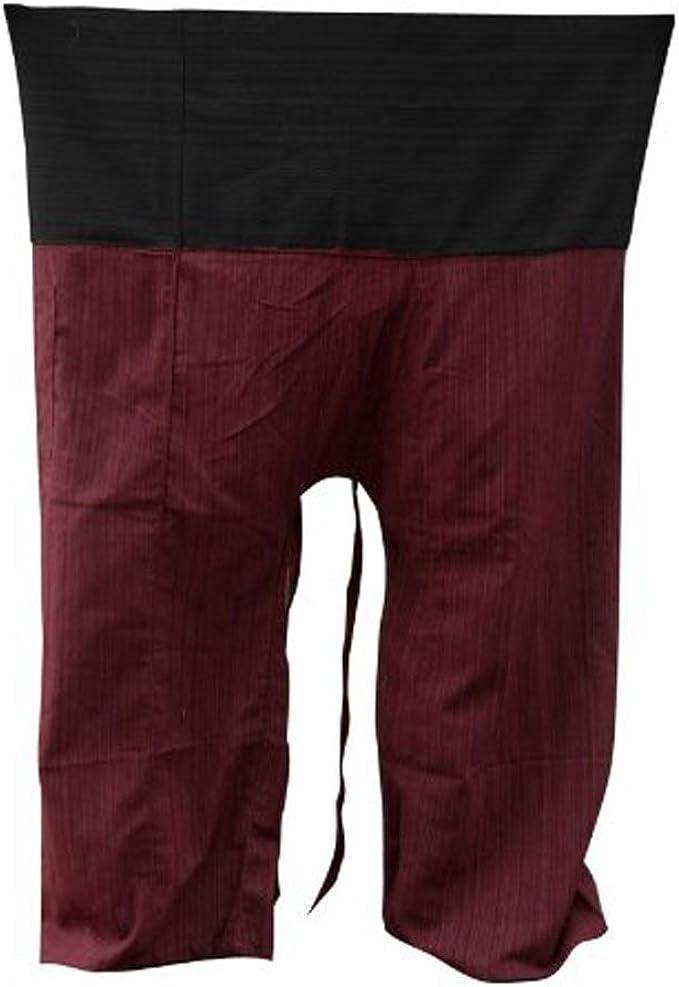 Olive and Black Thai Fisherman Pants Wrap Pants Yoga Trousers Free Size Cotton Drill