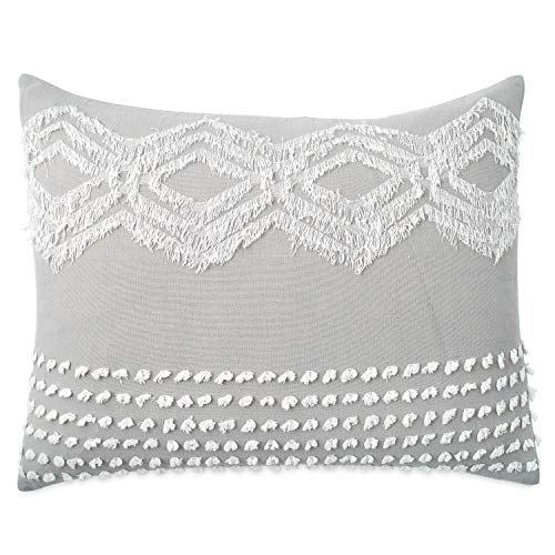 Peri Home Cut Geo 100% Cotton Pillow Sham, Standard, Grey