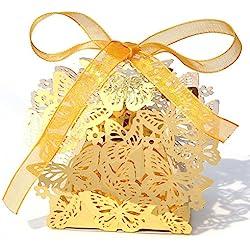 PONATIA 50pcs/Lot Laser Cut Pearl Paper Party Wedding Favor Ribbon Candy Boxes Gift Box (Bright gold)