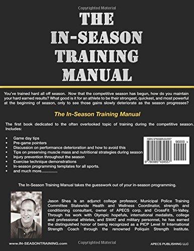 the in season training manual jason shea 9780985434557 amazon com rh amazon com