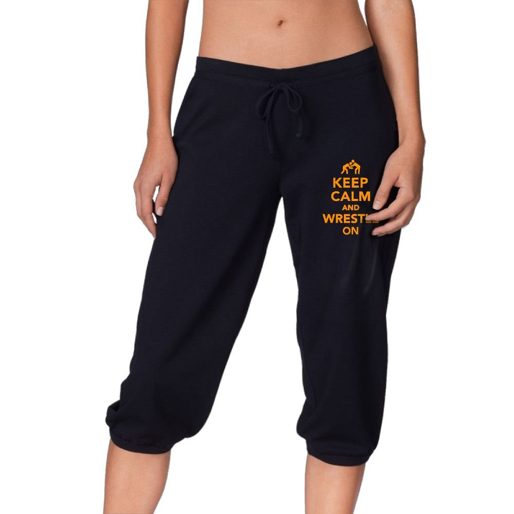 YYY-Pants Keep Calm and Wrestling On Active Womens Casual Drawstring Woven Capri Pant Black Capri Joggers XXL by YYY-Pants